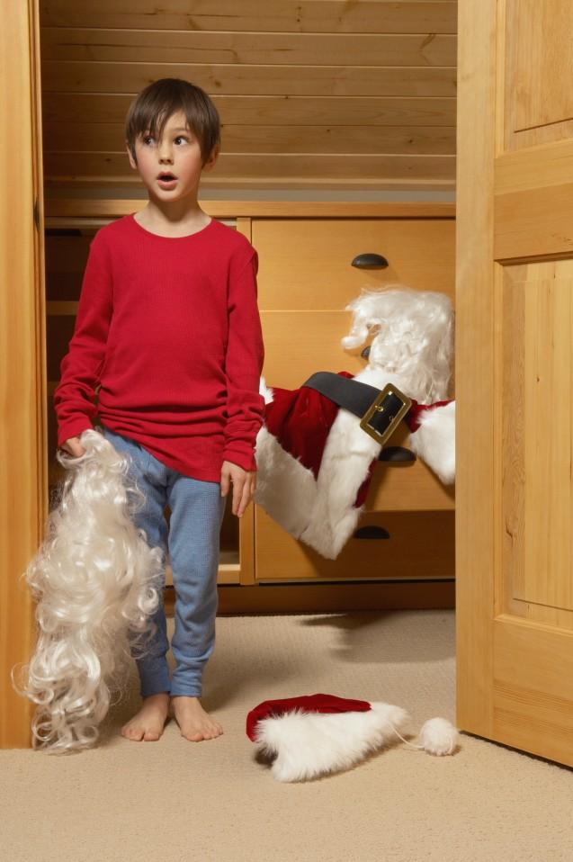Boy holding Santa's beard